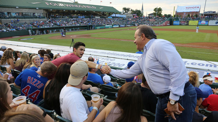 South Bend Cubs owner Andrew Berlin greets fans